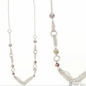 Jewelry - Long Statement Silver-tone Chain Necklace